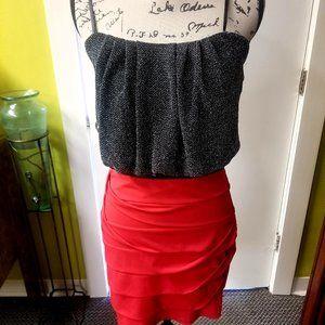 WOMEN'S RED & BLACK BLING BLING PARTY DRESS